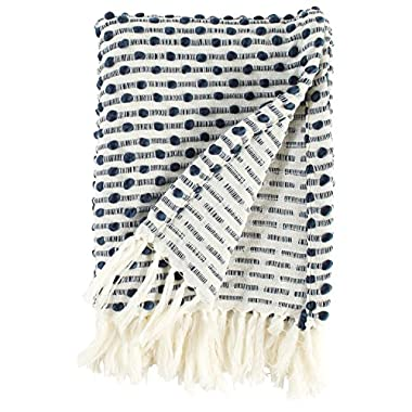 Rivet Bubble Textured Lightweight Decorative Fringe Throw Blanket, 47.7  W x 60  L, Navy and Cream