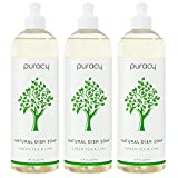 Puracy Natural Dish Soap, Green Tea & Lime, Sulfate-Free, Natural Liquid Detergent, 16 Ounce (3-Pack)