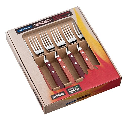 Tramontina Jumbo Steakgabel-Set, 6-teilig, Edelstahl, Holzgriff rot, FSC