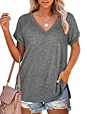 Womens Tshirts Loose Fit V Neck T Shirts Short Sleeve Casual Tops Soft Grey XL