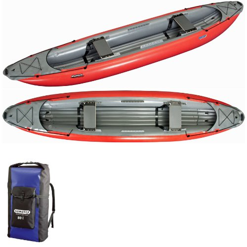 GUMOTEX palava Hohe Druck aufblasbares Kanu mit Ruck Sack Dry Bag–Rot
