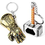 Sio & Tan Thor Mjolnir Hammer Thanos Glove Infinity War Gauntlet Bottle opener Keychain Key chain Key Ring (2 Pack opener keychain, 2 Pack opener keychain)