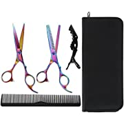 Lictin Hairdressing Scissors Hair Thinning Scissors Set and Hair Scissors, 6.0 inch + Presentation Case/Box + Black Comb +Black Hair clip