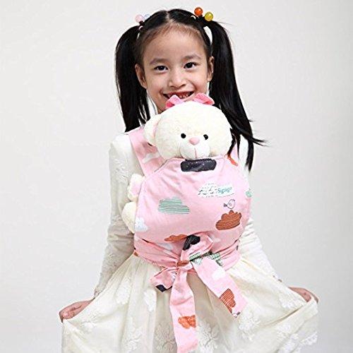 Baby Doll Carrier Mei Tai Sling Toy pour enfants Enfant enfant en bas d'enfant Dos, Mini-porteuse, Hibou, Dot, Fleur, Kaléidoscope (Cloud)