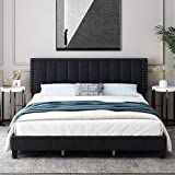 HIFORT King Size Bed Frame, Adjustable Headboard, 10 Inch Upholstered Platform, Bedstead, Mattress Foundation, Wooden Slats Support, No Box Spring Needed, Easy Assembly - Black