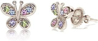 Crystal Butterfly Kids Baby Girl Earrings with Swarovski Elements