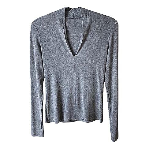 N\P Primavera, Verano y Otoño V-cuello manga larga Slim Bottom T-Shirt
