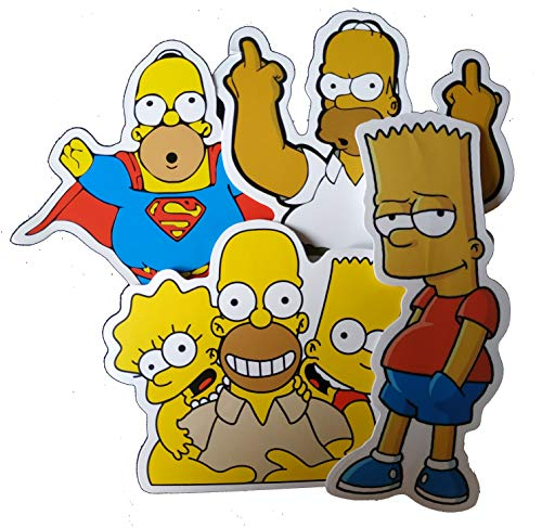 Sticker Top Trendy Styles Vinyl-Aufkleber für Skateboards, Snowboards, Roller, BMX, Mountainbikes, Laptops, Handy, Musik-Player, Gitarren etc, The Simpsons Mix