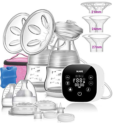 IKARE Double Electric Breast Pump, Portable Ultra Quiet Rechargeable Milk Pump with 6 Adjustable Strength & 4 Modes, Perfect Massage and Breastfeeding Assistant for Travel&Home, Hospital Grade