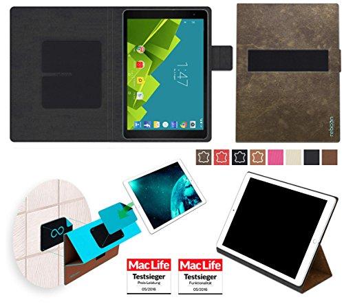 reboon Hülle für Vodafone Tab Prime 6 Tasche Cover Case Bumper | in Braun Wildleder | Testsieger