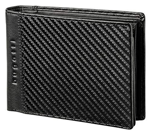 Bugatti Comet Geldbörse Herren Leder – Portemonnaie Herren Querformat Schwarz – Geldbeutel Portmonee Wallet Brieftasche Männer Portmonaise 7CC