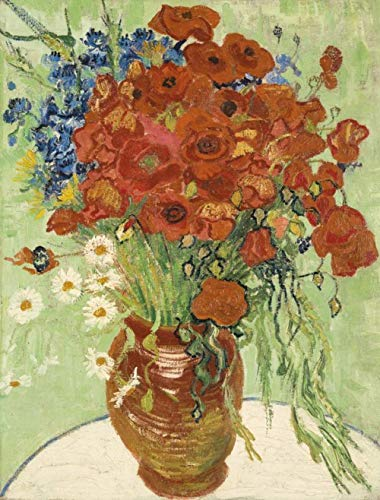 Still Life Red Poppies Daisies by Van Gogh's Oil painting DIY Paint by Numbers Famous Artwork Abstract Canvas Paint by Kits Adults Beginner 15.75 x 19.69 inches