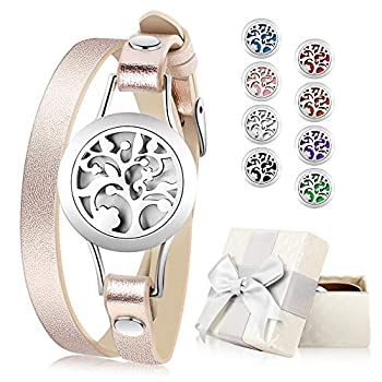 Essential Oil Diffuser Bracelet Aromatherapy Bracelet Jewelry Stainless Steel Locket Leather Band with 8pcs Washable Refill Pads Birthday Gifts for Women,Girlfriend Mother,Sister,Aunt