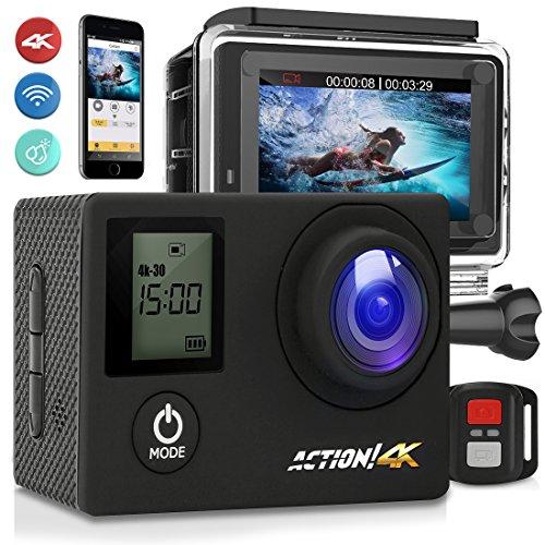 SereneLife 4K Ultra HD WiFi Pro Sport Action Camera - 1080p UHD Sports Mini Digital Video Camcorder Kit w/ 2