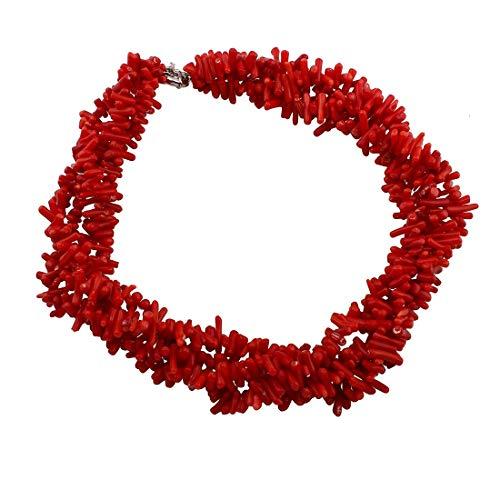 TreasureBay - Collar para mujer, diseño de ramas de coral, color rojo