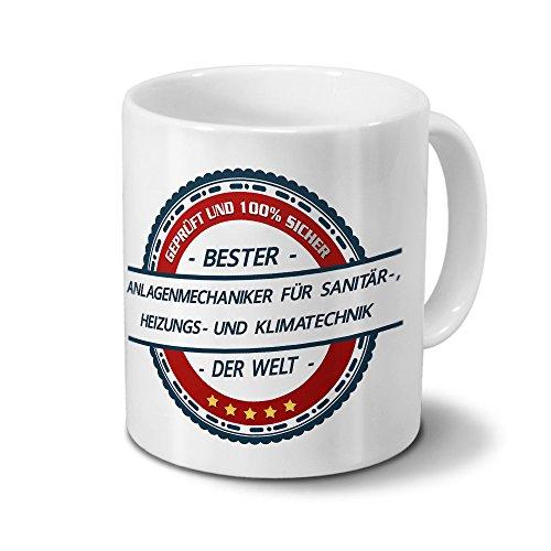 printplanet Tasse mit Beruf Anlagenmechaniker für Sanitär-, Heizungs- und Klimatechnik - Motiv Berufe - Kaffeebecher, Mug, Becher, Kaffeetasse - Farbe Weiß
