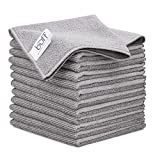 12' x 12' Buff Pro Multi-Surface Microfiber Cleaning Cloths | Gray - 12 Pack | Premium Microfiber Towels for Cleaning Glass, Kitchens, Bathrooms, Automotive