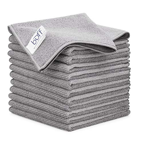 12' x 12' Buff Pro Multi-Surface Microfiber Cleaning Cloths   Gray -...