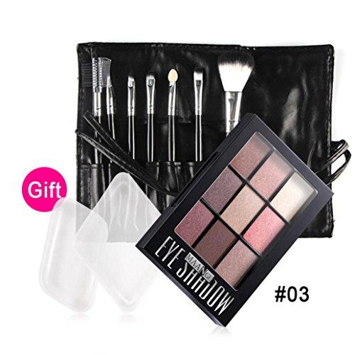 Coloré(TM) Palettes de maquillage Palette de maquillage de crème maquillage fard à paupières matte cosmétique Set 9 couleurs + pinceau (Noir)