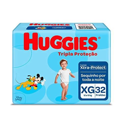 Kit: 2unid. Fralda Infantil Descartável Monica Huggies Tripla Proteção Mega Xg 32 Unidades