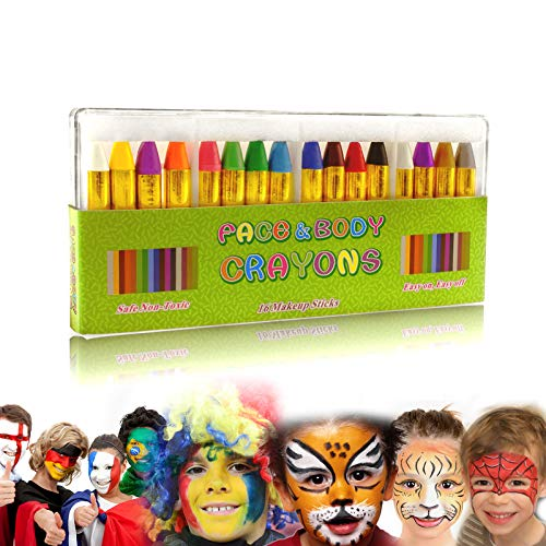 Gibot Face Paint Crayons 16 Colors Face and Body Paint Sticks Body Tattoo Crayons Kit for Kids, Child,Toddlers, Adult and World Cup Carnival,Non-Toxic,Set of 16