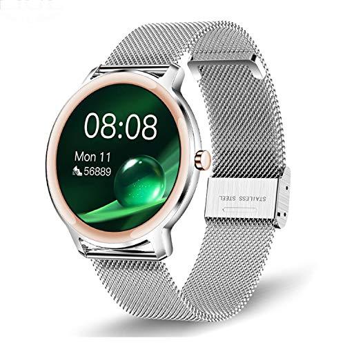 TWFJEL Smartwatch für Damen, Fitness Armbanduhr mit Blutdruck Messgeräte,Pulsoximeter,Pulsuhren Fitness Uhr Wasserdicht IP68 Fitness Tracker Schrittzähler Uhr Smart Watch für iOS Android Handy,Silber
