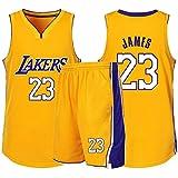 RL Lakers 23# James Gilet De Sport Short Basketball Jersey Ensemble Deux PièCes, Homme sans Manches T-Shirt, Enfant Manche Courte, Femmes Sweat-Shirt(2XS-5X),Jaune,2XS