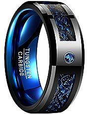 NUNCAD Anello Uomo/Donna Celtico Nero-Blu con Fibra di Carbonio, zircone, Unisex Anello tungsteno Largo 8 mm per Matrimonio, Fidanzamento, Associazione, Misura da 54 a 67 (15-32)