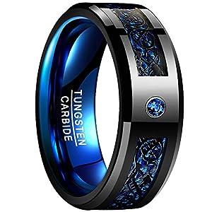 NUNCAD Ring Herren/Damen Keltisch Schwarz-Blau mit Kohlefasern, Zirkon, Unisex Wolfram Ring 8mm Breit für Hochzeit, Verlobung, Partnerschaft