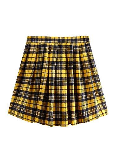 WDIRARA Women's Summer Split High Waist Bodycon Mini Plaid Uniform Skirt Black and Yellow M