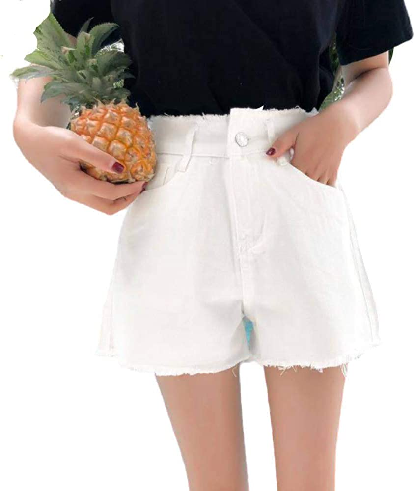 Women's Summer Denim Shorts Korean Version of High-Waisted Solid Color Wild