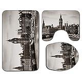Alfombra de baño antideslizante de 3 piezas Juego de tapa de asiento de inodoro Estera de baño antideslizante suave de Londres Westminster con Big Ben y puente Imagen nostálgica Arquitectura británica