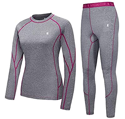 Little Donkey Andy Women's Soft Thermal Underwear Long Johns Set Active Performance Top & Bottom Base Layer Gray S