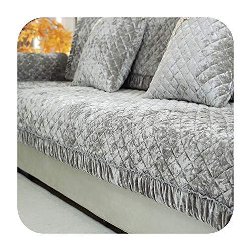 Hylshan Cojín de sofá de felpa antideslizante para verano europeo, cojín universal para cuatro estaciones, funda completa de sofá E-70x210 cm