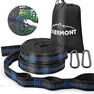 Overmont ハンモックベルト ハンモックストラップ 2本セット 専用収納バッグ付き (長さ300cm ノード18個 耐荷重量800kg) キャンプ アウトドア用 3年間保証