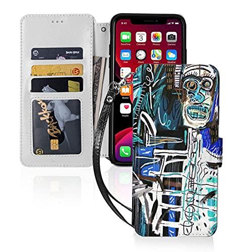 Jean-Michel Basquiat - Funda tipo cartera para iPhone 11-6.1 (con ranuras para tarjetas)