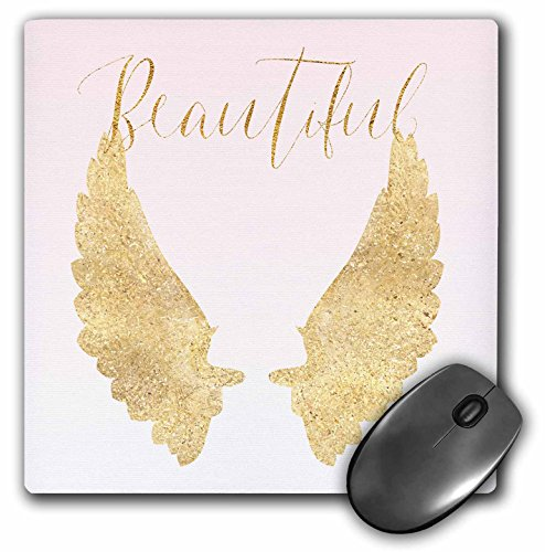 3dRose Image of Beautiful Blush Pink Gold Ombre Angel Wings Mouse Pad (mp_280683_1)
