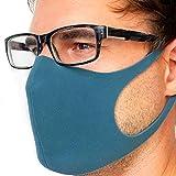 STELLENBERG design Behelfsmaske aus leichtem Schaumstoff Sofort lieferbar aus Deutschland wiederverwendbar waschbar brillenträger atmungsaktiv unisex alltagsmaske fashion grau (blau)