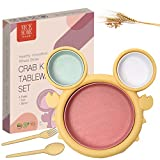 NyceHome Dinner Set for Kids, Children,Toddler Crab Shape Wheat Straw - Great Alternative to Melamine, Plastic and Bamboo Plates (Yellow)