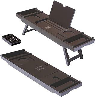3-in-1 プレミアム浴槽キャディ ノートパソコンデスク&ベッドトレイ 拡張可能なアームと調節可能な脚付き - 無料のソープディッシュ、2つのスパトレイとタブレット/ワイングラス/キャンドル/電話ホルダー付き - ブラウンバンブーカラー