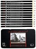 Ensemble de à dessin Heshengping 12 crayons à croquis graphite boîte en fer 8B 7B 6B 5B 4B 3B 2B B HB F H 2H pour étudiants enseignants enfants adultes artistes débutants professionnels