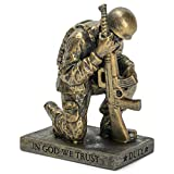 Dicksons Duty Faith God Praying Soldier 5 inch Gold Resin Stone Table Top Figurine