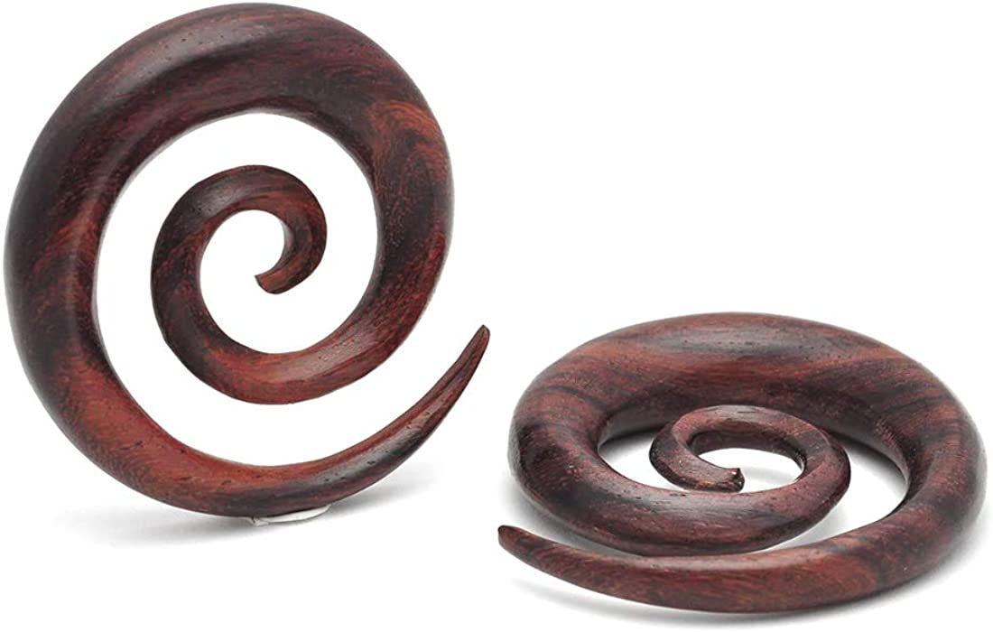 Mystic Metals Body Jewelry Sono Wood Super Spirals (PW-325) Plugs gauges - Sold As a Pair