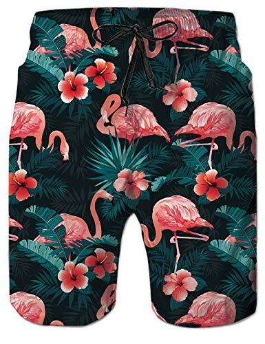 uideazone Herren Badehose Sommer Badeshorts 3D Flamingos Druck Sporthose Schnell Trocknend Surf Hawaii Schwimmhose