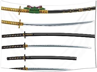 Japanese Tapestry Wall Hanging Set of Curved Slender Single Edged Blade Japanese Swords Katana Historical Guard Image Bedr...