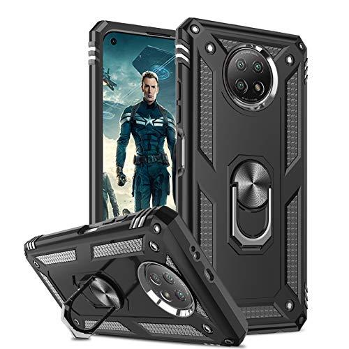 LeYi Hülle Kompatibel mit Xiaomi Redmi Note 9T 5G Handyhülle,Militär Rüstung Sturzfeste Hülle 360 Grad Ring Halter Ständer Handy Hüllen Cover Schutzhülle Bumper Schwarz