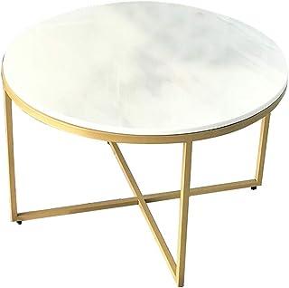 Mejoras para el hogar Diseño de Muebles Mesa de Centro de mármol Redondo Marco de Metal de Estilo Moderno Simple con Alfom...