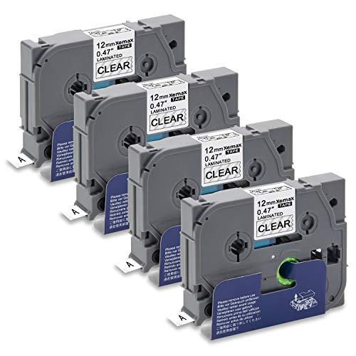 Xemax Compatibile Nastro 12mm x 8m Sostituzione per Brother P-Touch Tze-131 Tz-131 Nero su Transparent Laminato Cassette per PT-H101C PT-H105 PT-D210 D400VP PT-P750W PT-1000 PT-1010, Confezione da 4
