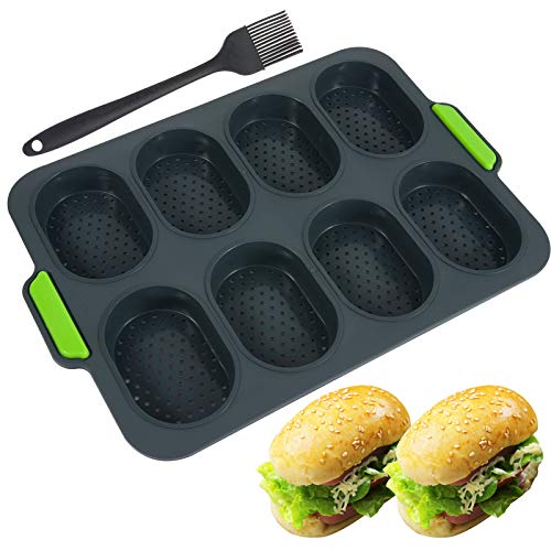 Mini Baguette Baking Tray- Silicone 8 Grids Bread Baking Pan Mold Bread Crisping Tray with Bonus Oil Brush Non-Stick French Bread Loaf Cooking Mould Plate Pan for Breadstick & Bread Rolls (Dark Gray)