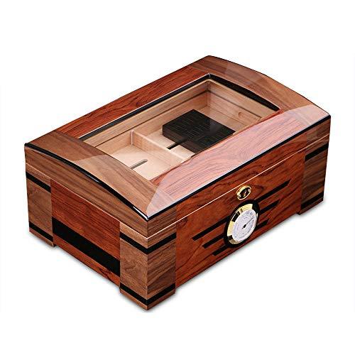 BJL-Cigar Zigarrenbox, doppelschichtig, transparent, Luftbefeuchter aus Zedernholz, hohe Kapazität, 100 Kapazitäten, tragbarer Zigarren-Luftbefeuchter mit Hygrometer, Größe: 35 x 23,8 x 16 cm